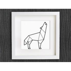 Loup dessiné en origami