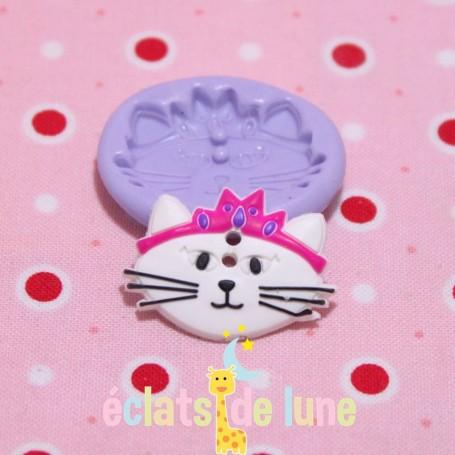 /Moule en silicone bouton chat princesse 27/20mm