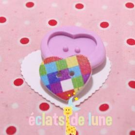 Moule en silicone bouton cœur 22/25mm