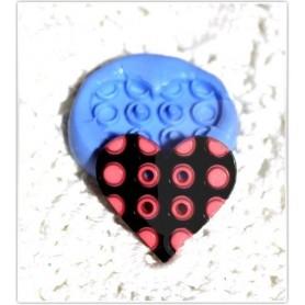 Moule en silicone bouton cœur à points 25 mm